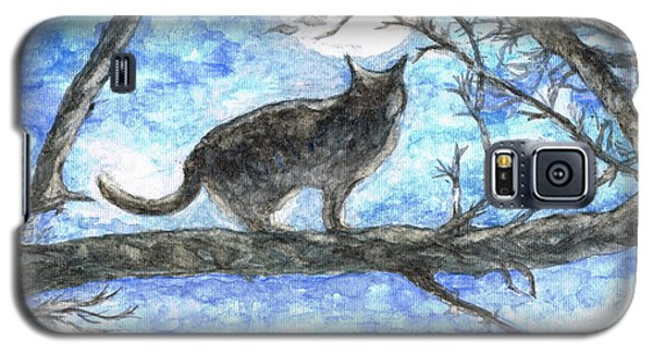 Galaxy S5 Case featuring the painting Moon Cat by Teresa White