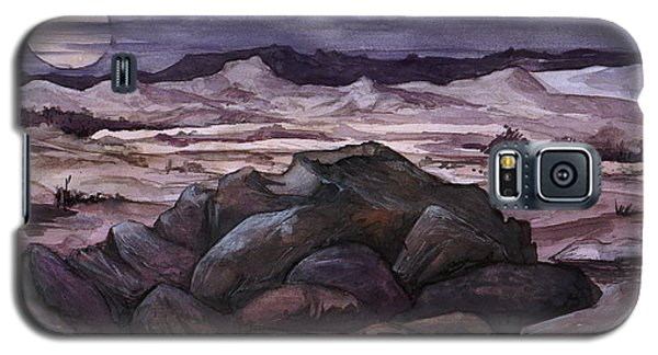 Galaxy S5 Case featuring the painting Moon Over Desert by Mikhail Savchenko