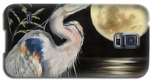 Moon Over Mississippi A Great Blue Herons Perspective Galaxy S5 Case
