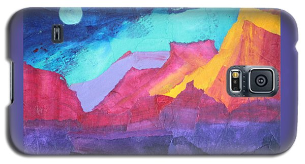 Galaxy S5 Case featuring the painting Moon Over Sedona by Nancy Jolley
