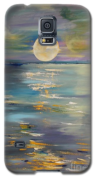 Galaxy S5 Case featuring the painting Moon Over Your Town/reflexion by PainterArtist FIN