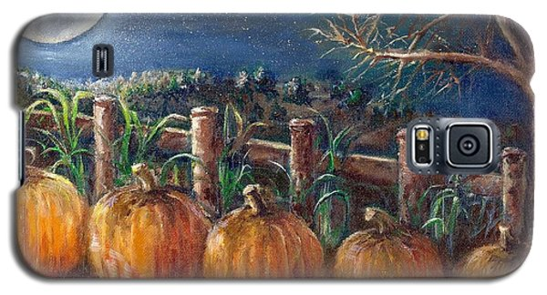 Galaxy S5 Case featuring the painting Moon Pumpkin Harvest by Bernadette Krupa