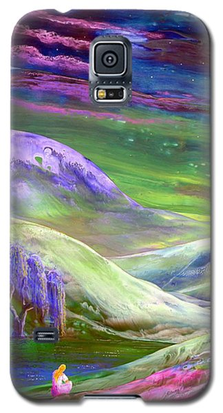 Galaxy S5 Case featuring the painting Moon Shadow by Jane Small