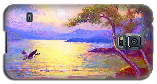 Galaxy S5 Case featuring the painting  Wild Goose, Moon Song by Jane Small