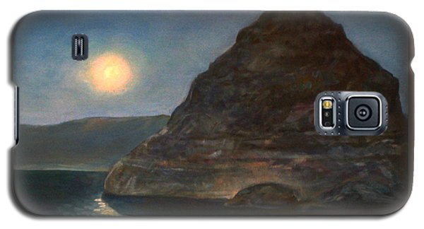Galaxy S5 Case featuring the painting Moonlight On Pyramid Lake by Donna Tucker