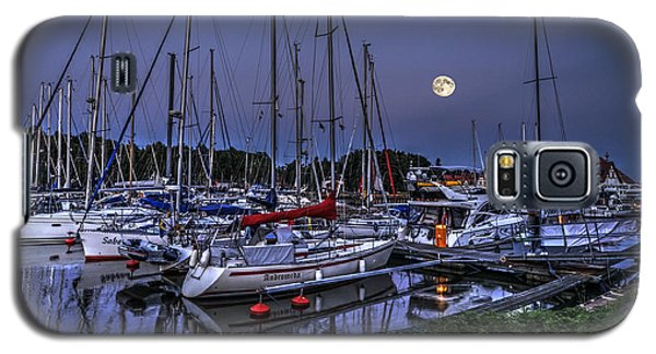 Moonlight Over Yacht Marina In Leba In Poland Galaxy S5 Case