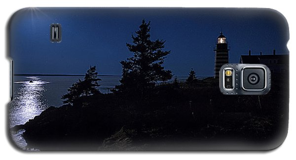 Galaxy S5 Case featuring the photograph Moonlit Panorama West Quoddy Head Lighthouse by Marty Saccone