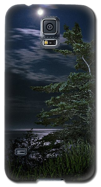 Galaxy S5 Case featuring the photograph Moonlit Treescape by Marty Saccone