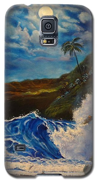 Galaxy S5 Case featuring the painting Moonlit Wave 11 by Jenny Lee