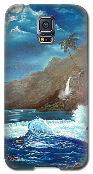 Galaxy S5 Case featuring the painting Moonlit Wave by Jenny Lee