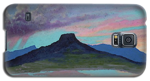 Galaxy S5 Case featuring the painting Moonrise With Thunderstorm Over Abiquiu Lake And Pedernal Mountain by Anastasia Savage Ealy