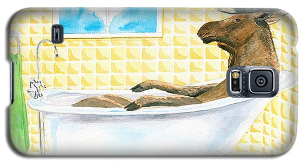 Galaxy S5 Case featuring the painting Moose Bath by LeAnne Sowa