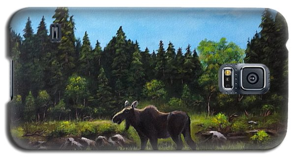 Galaxy S5 Case featuring the painting Moose by Bozena Zajaczkowska
