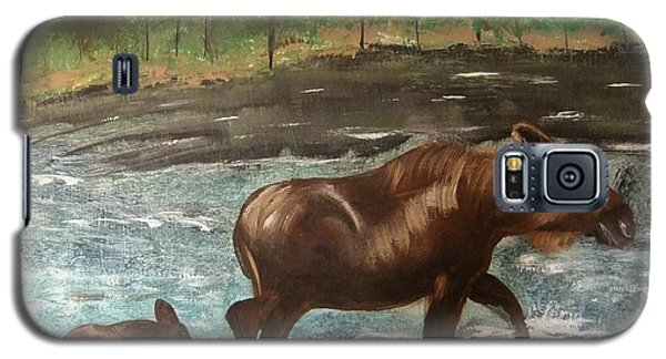 Galaxy S5 Case featuring the painting Moose Crossing by Matthew Griswold