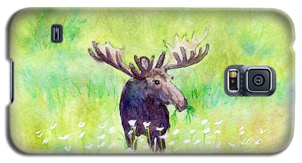 Moose In Flowers Galaxy S5 Case by C Sitton
