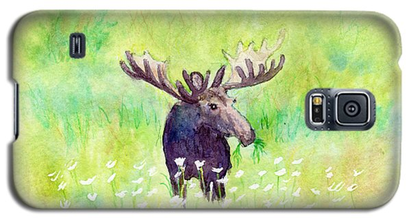 Moose In Flowers Galaxy S5 Case