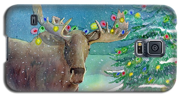 Galaxy S5 Case featuring the painting Moosey Christmas by LeAnne Sowa