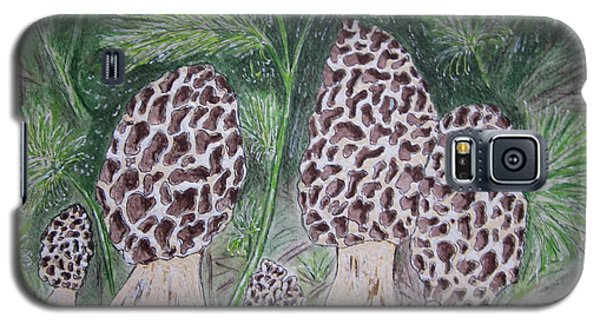 Galaxy S5 Case featuring the painting Morel Mushrooms by Kathy Marrs Chandler