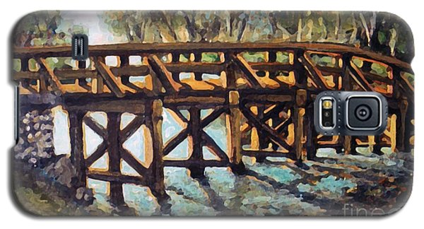 Galaxy S5 Case featuring the painting Morning At The Old North Bridge by Rita Brown