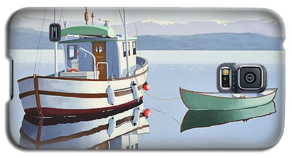 Galaxy S5 Case featuring the painting Morning Calm-fishing Boat With Skiff by Gary Giacomelli