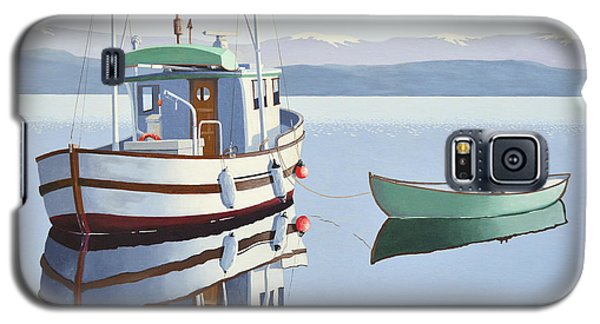 Morning Calm-fishing Boat With Skiff Galaxy S5 Case by Gary Giacomelli