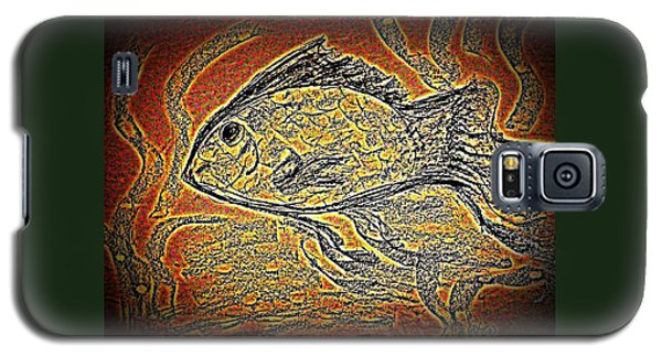 Mosaic Goldfish In Charcoal Galaxy S5 Case by Antonia Citrino