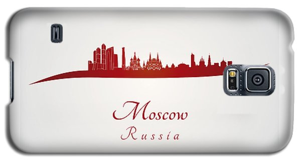 Moscow Skyline In Red Galaxy S5 Case by Pablo Romero