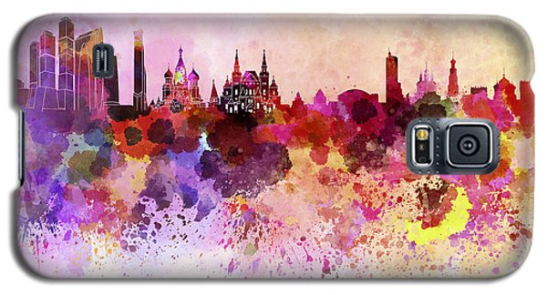Moscow Skyline In Watercolor Background Galaxy S5 Case by Pablo Romero