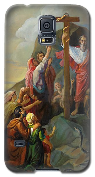 Galaxy S5 Case featuring the painting Moses And The Brazen Serpent - Biblical Stories by Svitozar Nenyuk