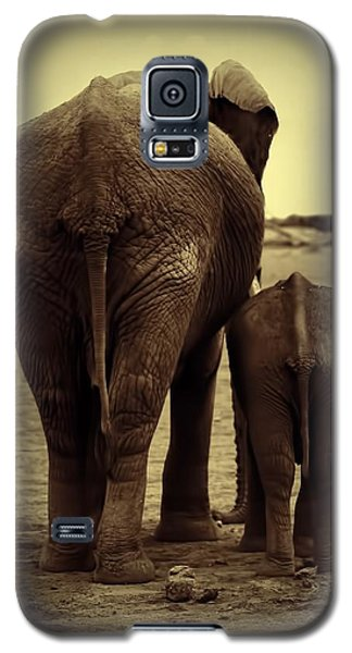 Mother And Baby Elephant In Black And White Galaxy S5 Case by Amanda Stadther