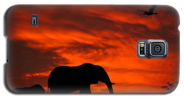 Mother And Baby Elephants Sunset Silhouette Series Galaxy S5 Case