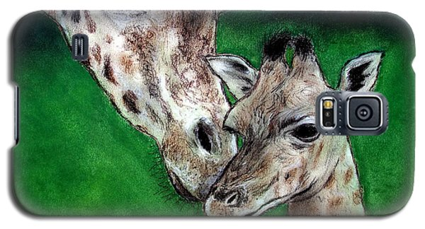 Mother And Baby Giraffe Galaxy S5 Case by Jim Fitzpatrick