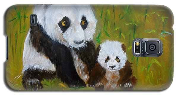 Galaxy S5 Case featuring the painting Mother And Baby Panda by Jenny Lee