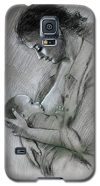 Galaxy S5 Case featuring the drawing Mother And Baby by Viola El