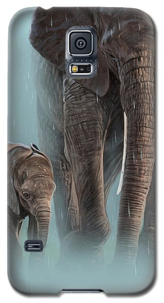 Elephant Galaxy S5 Case - Mother And Child by Aaron Blaise