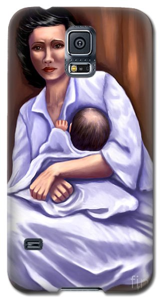 Galaxy S5 Case featuring the painting Mother In Distress by Sena Wilson