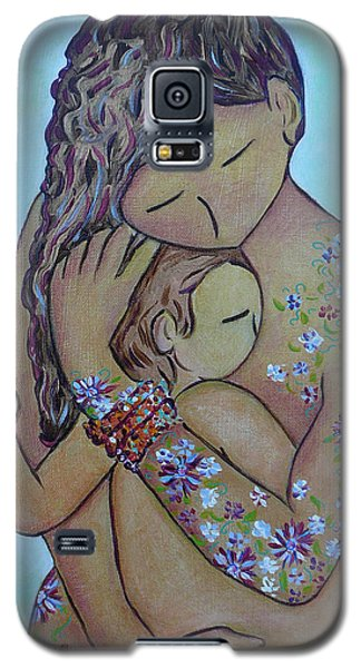 Galaxy S5 Case featuring the painting Motherhood Flowers All Over by Gioia Albano