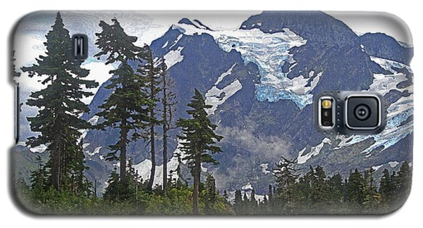 Galaxy S5 Case featuring the photograph Mount Baker And Fir Trees And Glaciers And Fog by Tom Janca