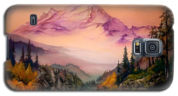 Galaxy S5 Case featuring the painting Mount Baker Morning by Sherry Shipley