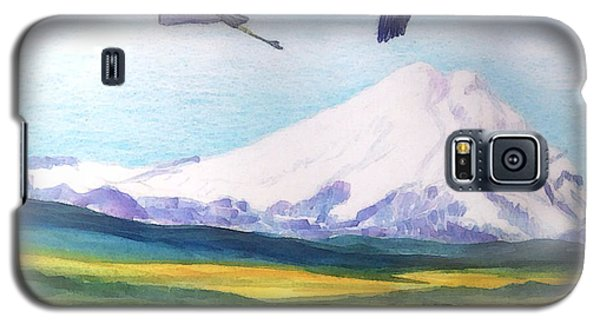 Galaxy S5 Case featuring the painting Mount Elbrus Watching Blue Herons Fly Over Sunflower Fields by Anastasia Savage Ealy