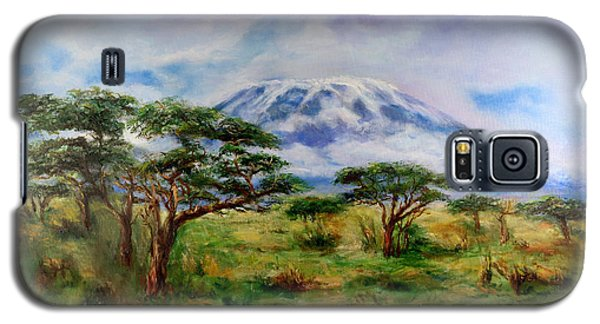 Galaxy S5 Case featuring the painting Mount Kilimanjaro Tanzania by Sher Nasser