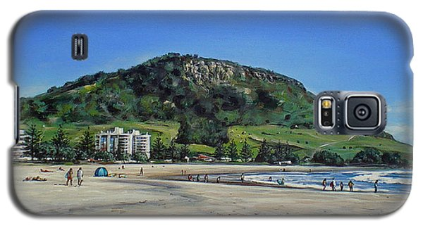 Galaxy S5 Case featuring the painting Mount Maunganui Beach 151209 by Sylvia Kula