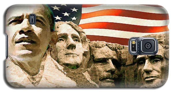 Barack Obama On Mount Rushmore - American Art Poster Galaxy S5 Case
