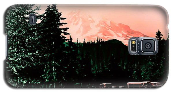 Galaxy S5 Case featuring the photograph Mount Rainier With Vintage Cars Early 1900 Era... by Eddie Eastwood