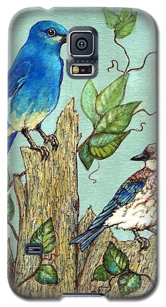 Galaxy S5 Case featuring the painting Mountain Bluebirds by VLee Watson
