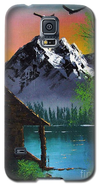 Galaxy S5 Case featuring the painting Mountain Lake Cabin W Eagles by Marianne NANA Betts