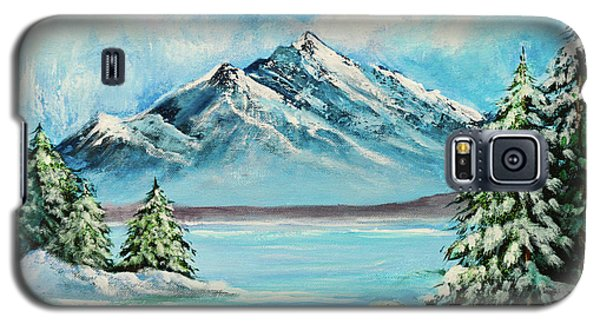 Galaxy S5 Case featuring the painting Mountain Lake In Winter Original Painting Forsale by Bob and Nadine Johnston