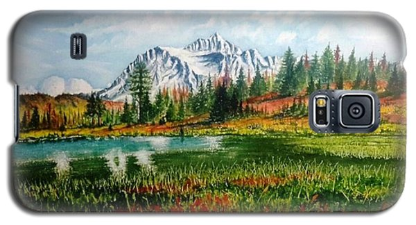 Galaxy S5 Case featuring the painting Mountain Lake by Richard Benson