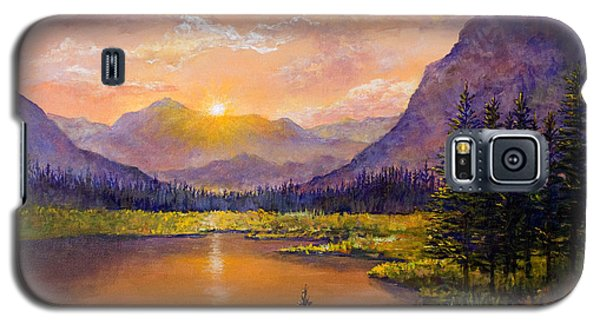 Galaxy S5 Case featuring the painting Mountain Lake Sunset by Lou Ann Bagnall