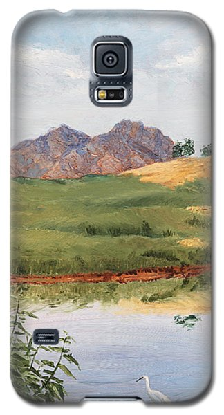 Mountain Landscape With Egret Galaxy S5 Case